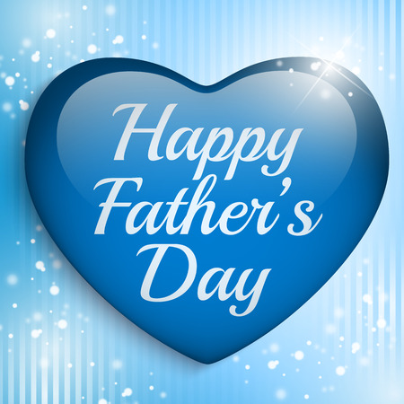 happy fathers day card: Vector - Happy Fathers Day Blue Heart Background