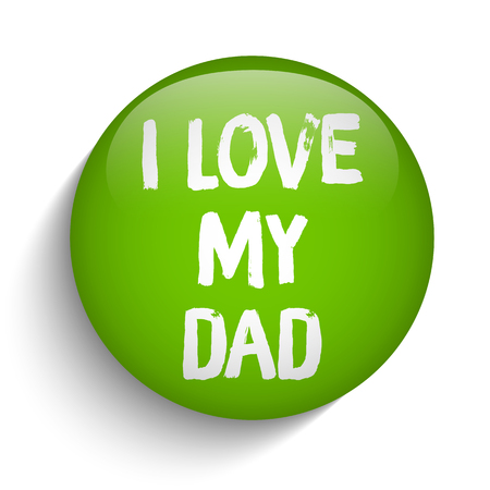 happy Fathers Day: Vector - Happy Fathers Day Green Icon Button