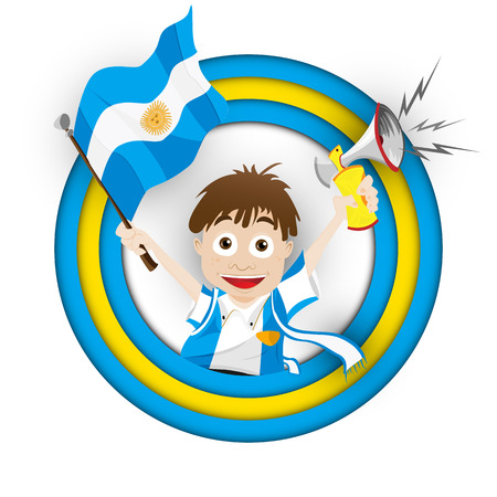supporter: Vector - Argentina Soccer Fan Flag Cartoon Illustration