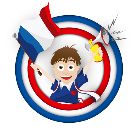 supporter: Vector - France Soccer Fan Flag Cartoon