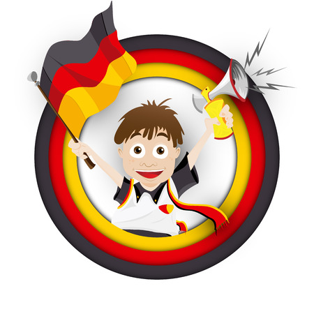 Vector - Germany Soccer Fan Flag Cartoon Illustration