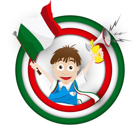 football fan: Vector - Italy Soccer Fan Flag Cartoon Illustration