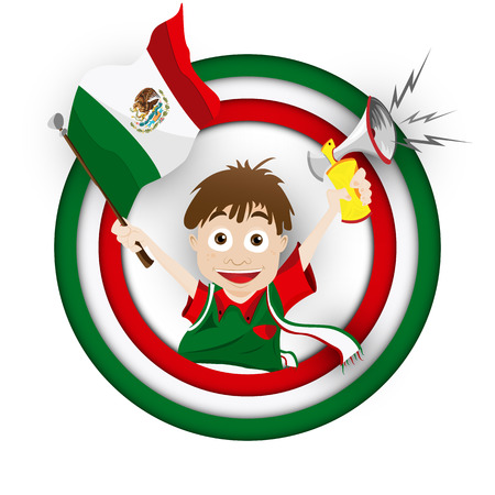 mexican boy: Vector - Mexico Soccer Fan Flag Cartoon Illustration