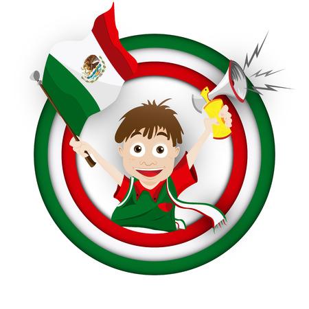 Vector - Mexico Soccer Fan Flag Cartoon Illustration