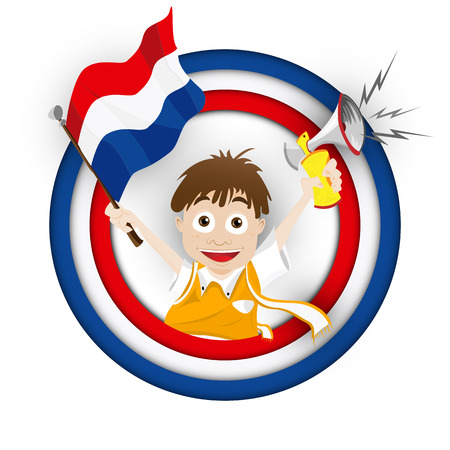 Vector - Netherlands Soccer Fan Flag Cartoon Vector