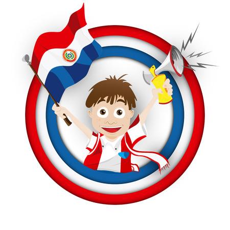 Vector - Paraguay Soccer Fan Flag Cartoon Vector