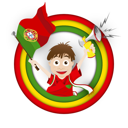 Vector - Portugal Soccer Fan Flag Cartoon Vector