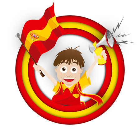football fan: Vector - Spain Soccer Fan Flag Cartoon