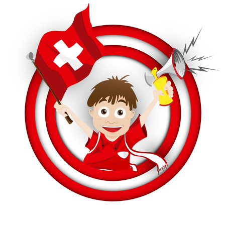 football fan: Vector - Switzerland Soccer Fan Flag Cartoon Illustration