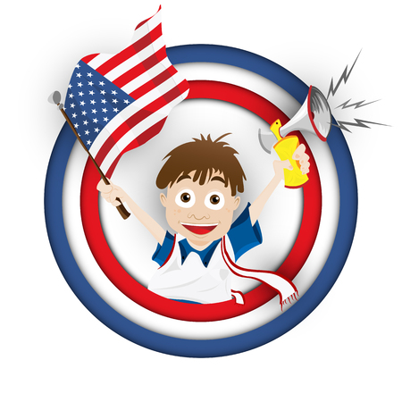 Vector - USA Soccer Fan Flag Cartoon Vector
