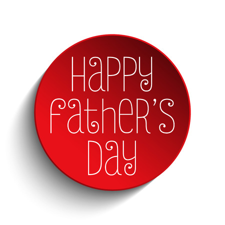 happy fathers day card: Vector - Happy Fathers Day Red Icon Button