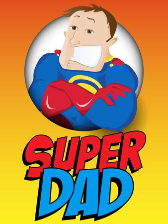 矢量-超人英雄爸爸。父亲节快乐