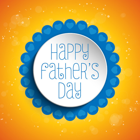 Vector - Happy Fathers Day Blue Heart Background Vector