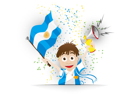football fan: Vector - Argentina Soccer Fan Flag Cartoon Illustration