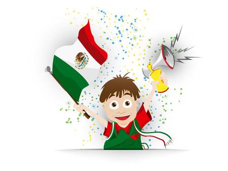 mexico cartoon: Vector - Mexico Soccer Fan Flag Cartoon Illustration