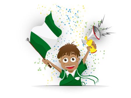 Vector - Nigeria Soccer Fan Flag Cartoon Vector