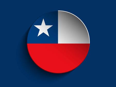 bandera de chile: Vector - Círculo de la bandera de papel Sombra Botón Chile Vectores