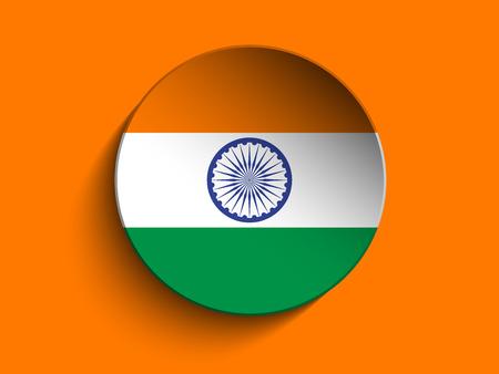 india 3d: Vector - Flag Paper Circle Shadow Button India