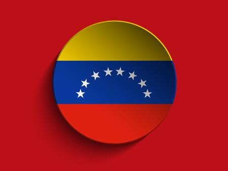 venezuelan: Vector - bandera de papel Circle Shadow Button Venezuela