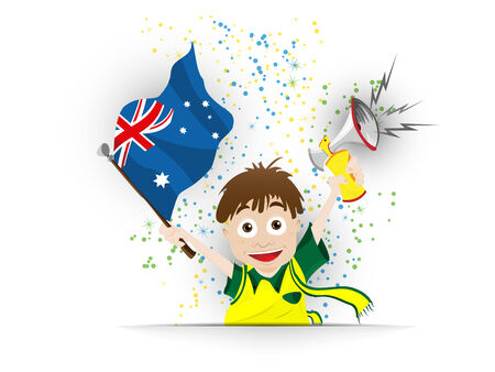 Vector - Australia Soccer Fan Flag Cartoon Vector
