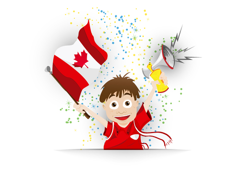supporter: Vector - Canada Soccer Fan Flag Cartoon