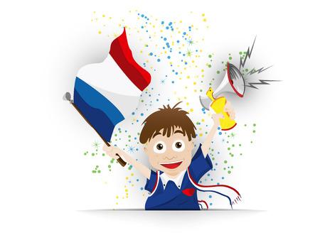supporter: Vector - France Soccer Fan Flag Cartoon