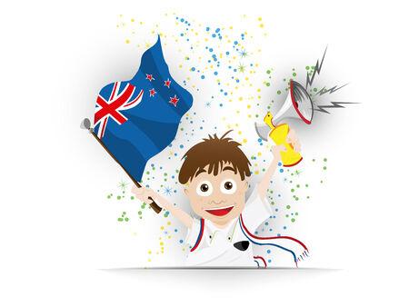 Vector - New Zealand Soccer Fan Flag Cartoon Vector