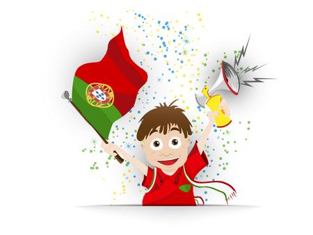 drapeau portugal: Vecteur - Portugal Football Fan Cartoon Flag