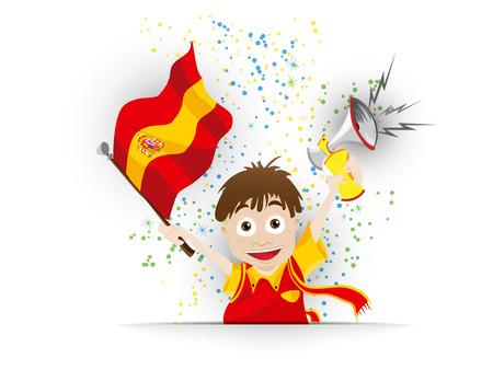 football silhouette: Vector - Spain Soccer Fan Flag Cartoon