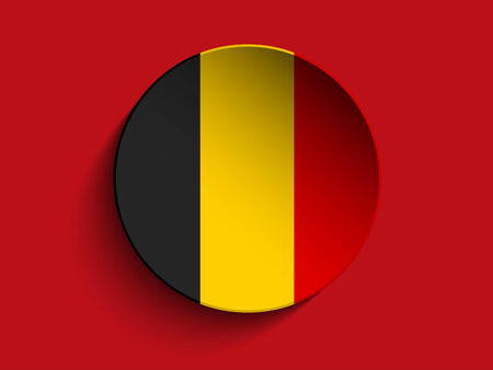 Vector - Flag Paper Circle Shadow Button Belgium Vector
