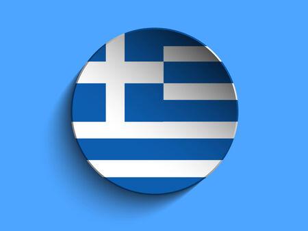 Vector - Flag Paper Circle Shadow Button Greece Vector