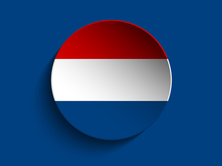 Vector - Flag Paper Circle Shadow Button Netherlands Vector