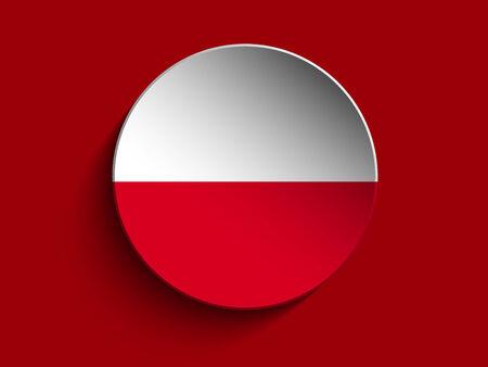 bandera de polonia: Vector - Bandera de papel Círculo Sombra Botón Polonia