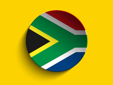 Vector - South Africa Flag Paper Circle Shadow Button Vector
