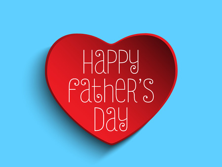 Vector - Happy Fathers Day Red Heart Background Vector