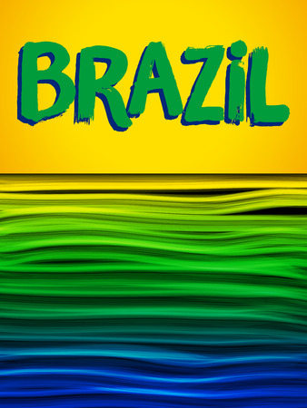 world cup: Vector - Brazil Flag Wave Yellow Green Blue Background Illustration