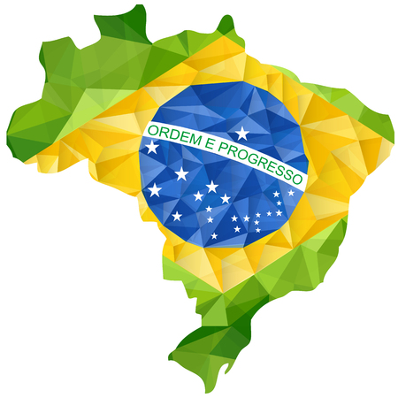 brazilian flag: Vector - Brazil Flag Wave Yellow Green Blue Background Illustration