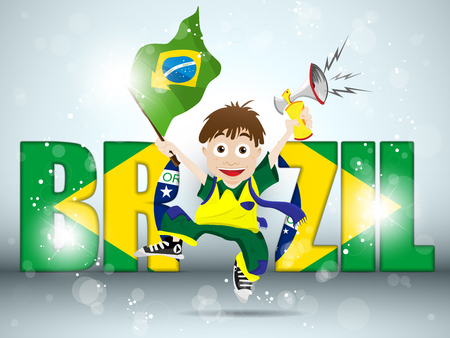 country boy: Vector - Brazil Sport Fan with Flag and Horn