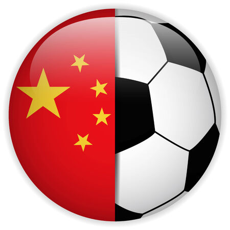 world cup: Vector - China Flag with Soccer Ball Background Illustration