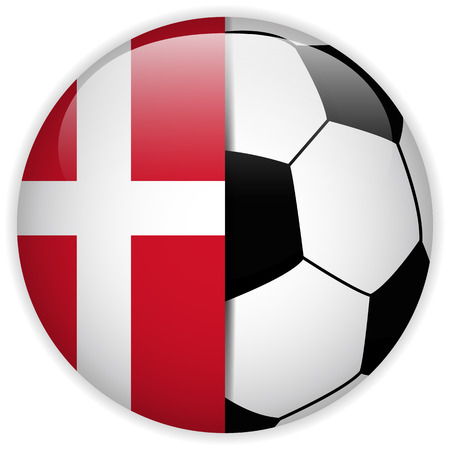 Vector - Denmark Flag with Soccer Ball Background Vector