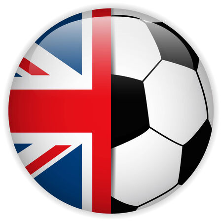 Vector - UK Flag with Soccer Ball Background Vector