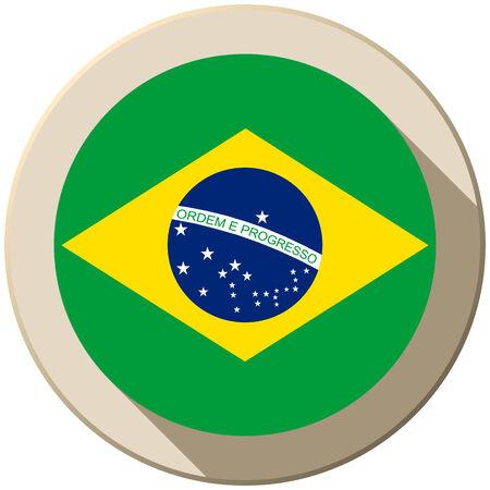 Vector - Brazil Flag Button Icon Modern Vector