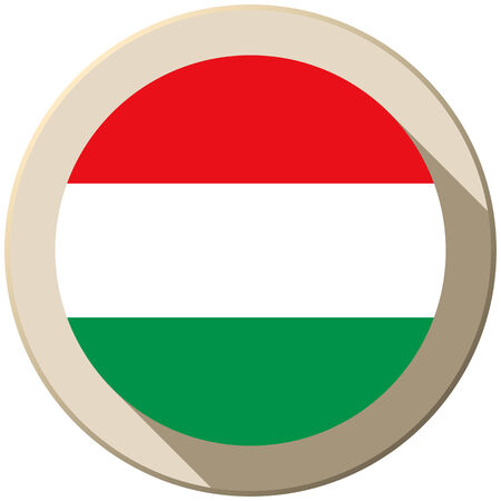 Vector - Hungary Flag Button Icon Modern Vector