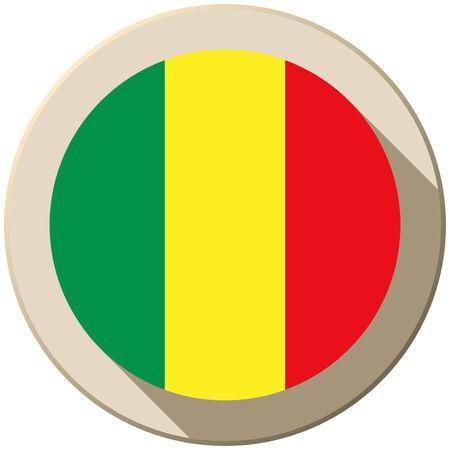 mali: Vector - Mali Flag Button Icon Modern