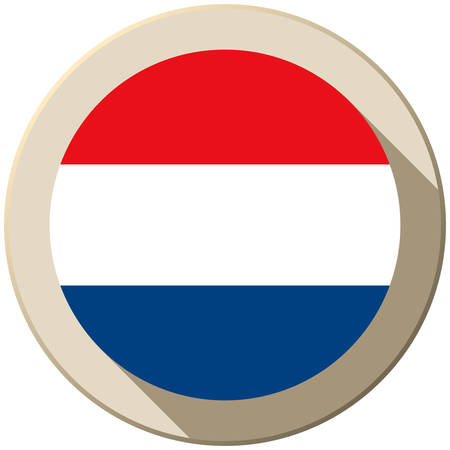 Vector - Netherlands Flag Button Icon Modern Vector