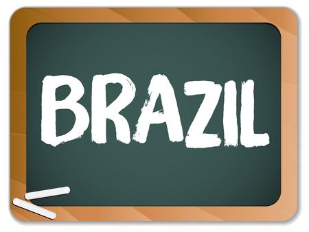 brazilian flag: Vector - Green Chalk Blackboard Brazil