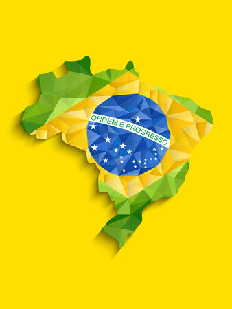 Vector - Brazil Flag Map Yellow Green Blue Background Vector