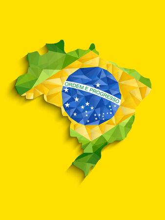 brasil: Vector - Brazil Flag Map Yellow Green Blue Background