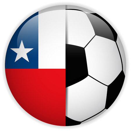 bandera de chile: Vector - Bandera de Chile con el bal�n de f�tbol de fondo