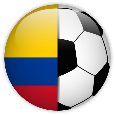 bandera de colombia: Vector - Bandera de Colombia con el balón de fútbol de fondo